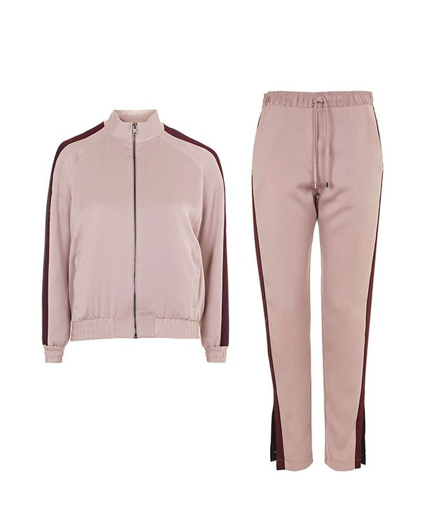 Topshop Stripe Detail Track Top and Satin Cuffless Jogger