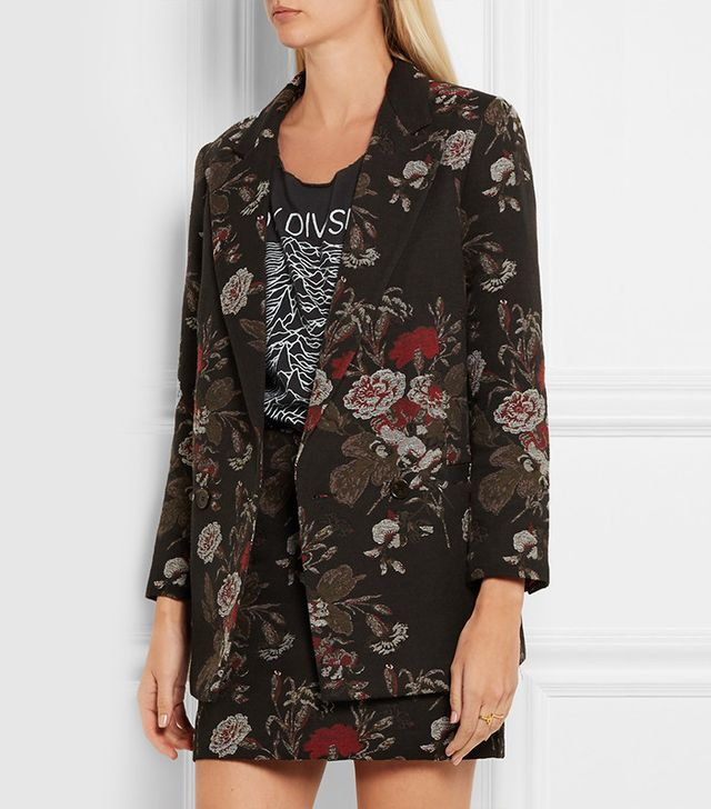 Ganni Double-Breasted Cotton-Blend Floral Brocade Blazer