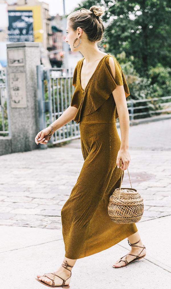 zara shimmer midi dress street style