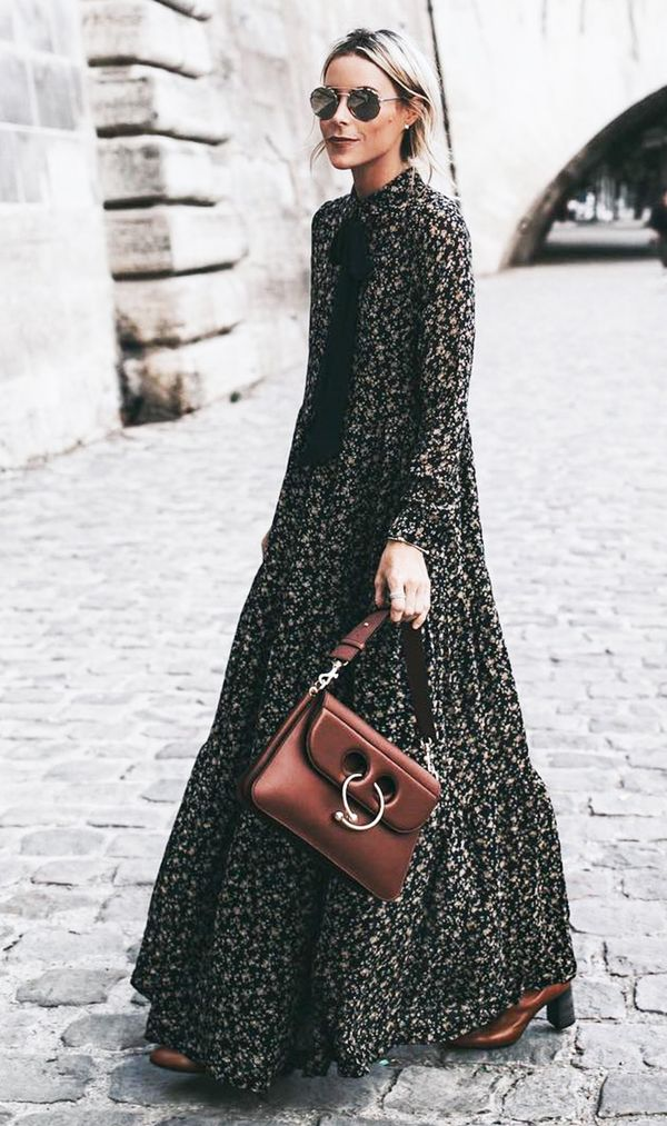 fall outfits street style floral maxi dress