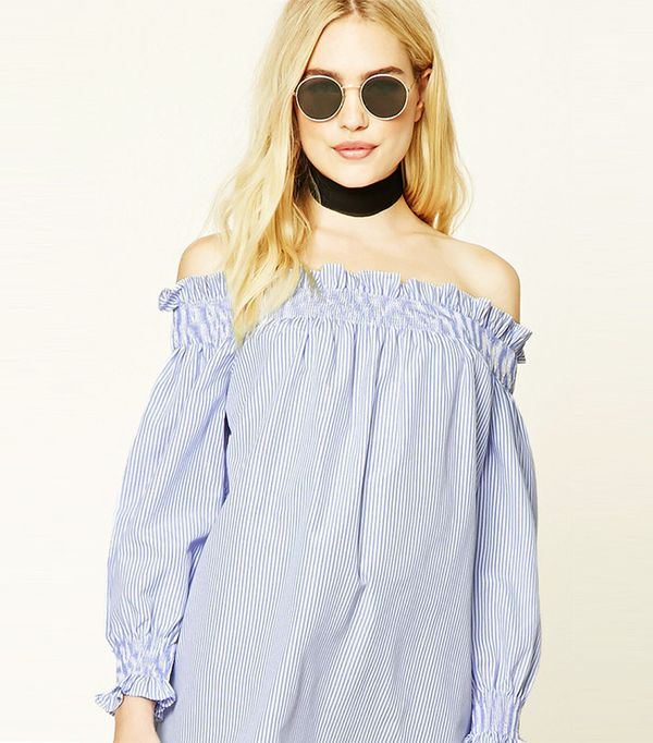 Forever 21 Striped Off-The-Shoulder Top