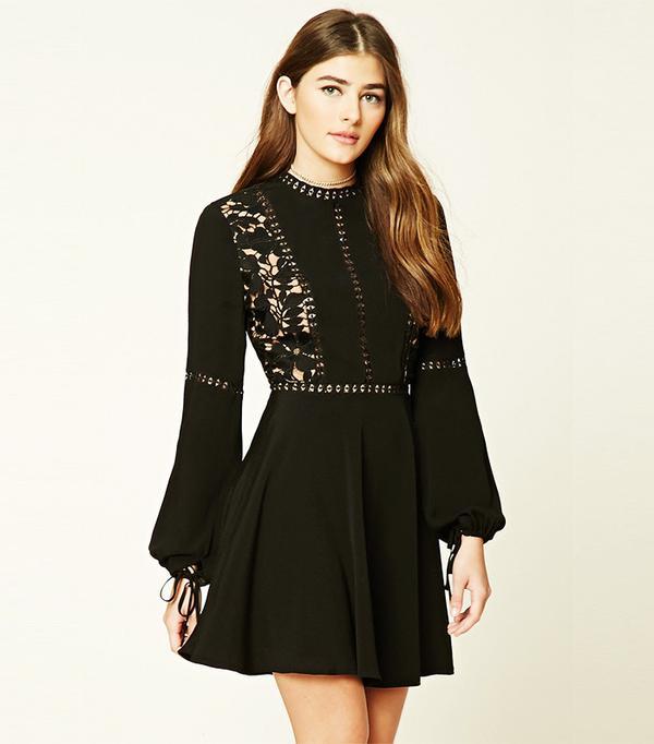 Forever 21 Crochet Overlay Mini Dress