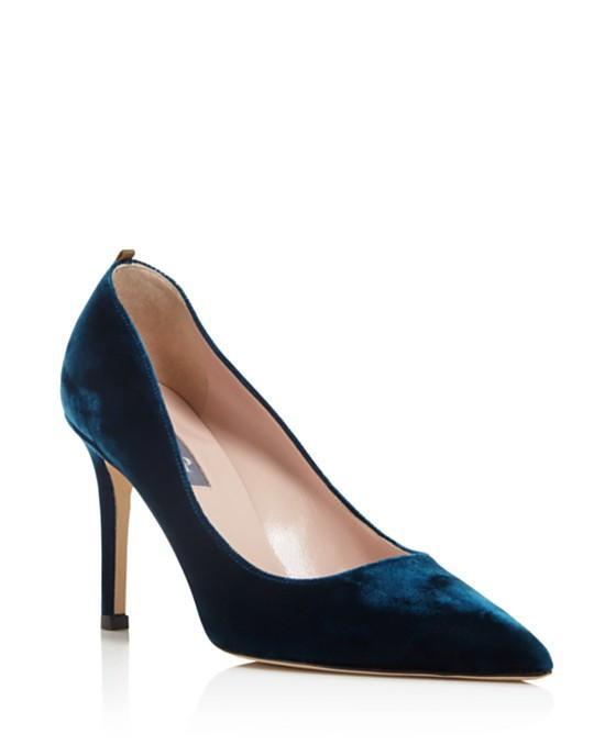 SJP by Sarah Jessica Parker Fawn Velvet Pointed Toe High Heel Pumps