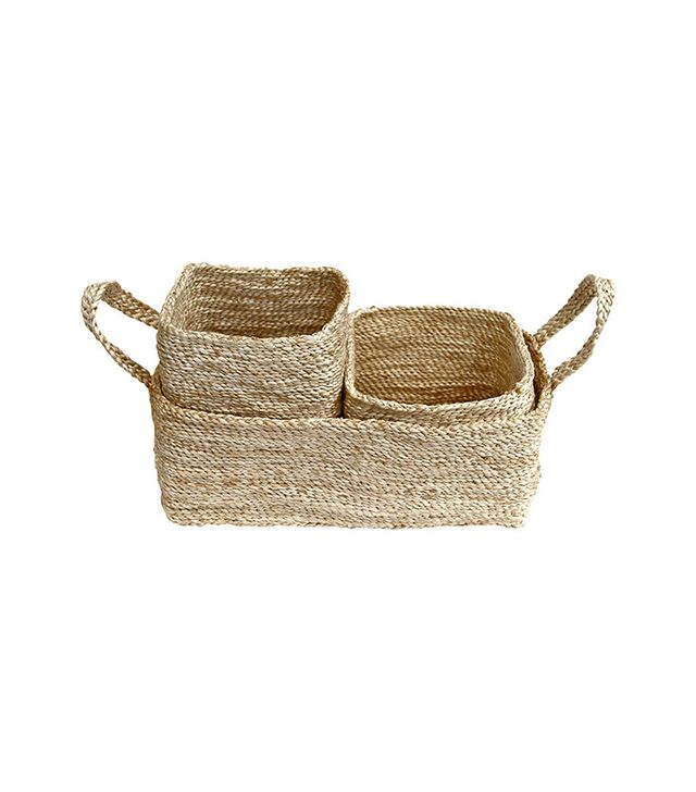 The Dharma Door USA Trio of Jute Storage Baskets