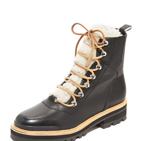 Isa Shearling Lace Up Booties
