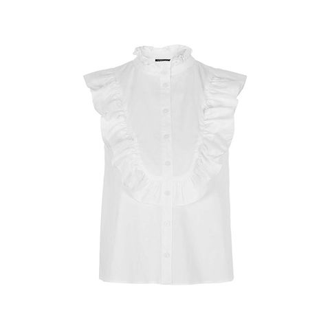 Sleeveless Poplin Ruffle Shirt