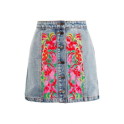 Denim Skirt With Embroidery by Kuccia