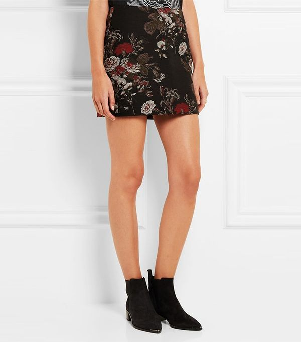 Ganni Cotton-Blend Floral-Brocade Mini Skirt