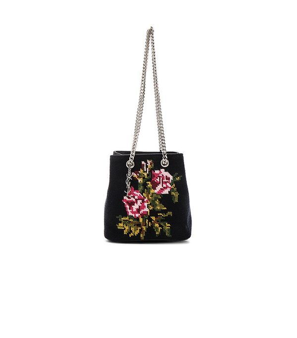 Saint Laurent Baby Floral Embroidery Emmanuelle Bucket Bag