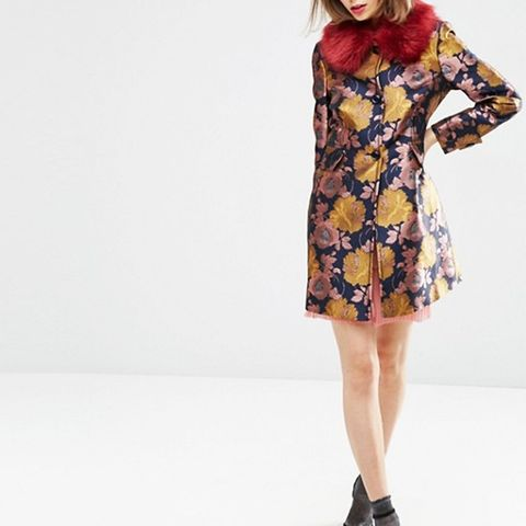 Dolly Coat in Floral with Faux Fur Collar