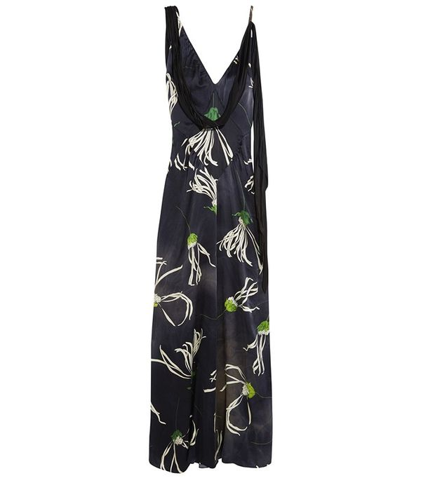 Miu Miu Printed Silk-Satin Gown