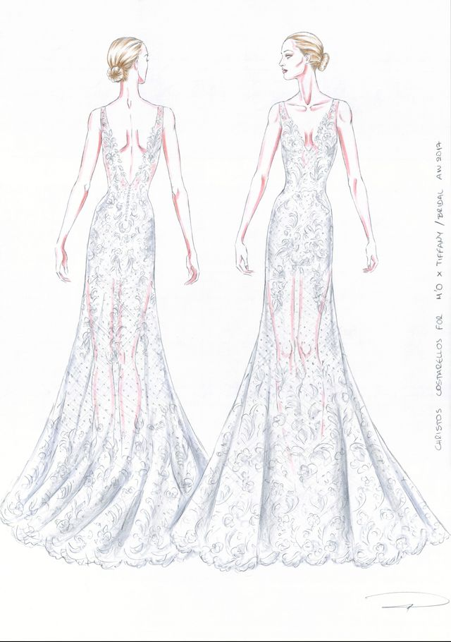 Costarellos V-Neck Mermaid Gown