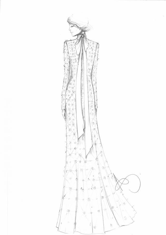 Temperley London Long Crossbone Lattice Gown