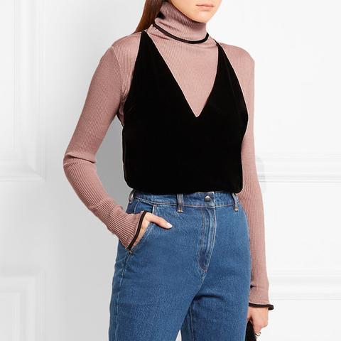 Ruffled Turtleneck Sweater