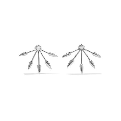 5 Spike Silver Earrings