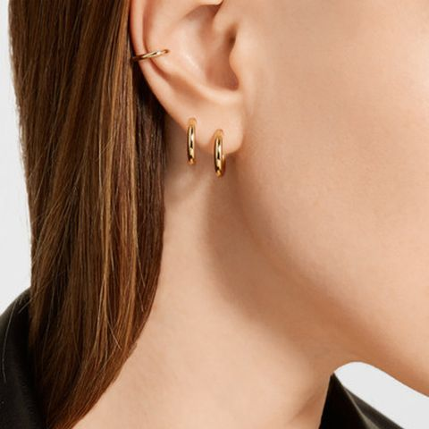 Huggie Gold-Plated Hoop Earrings and Cuff Set