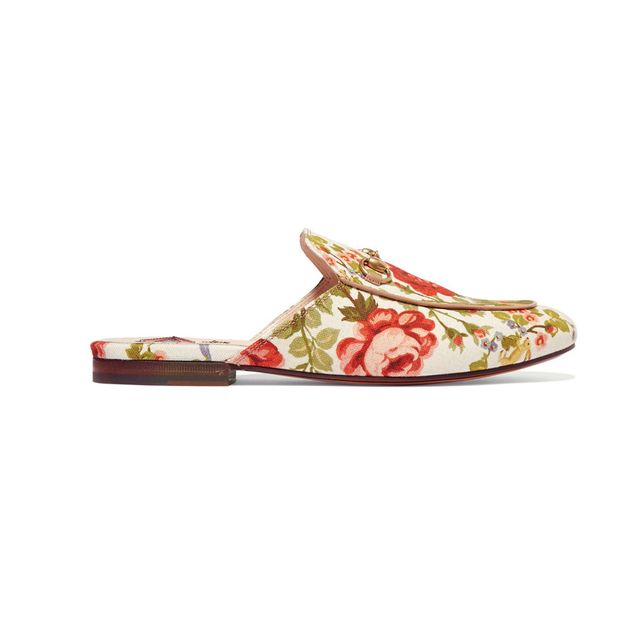 Gucci Horsebit Detailed Floral Canvas Slippers