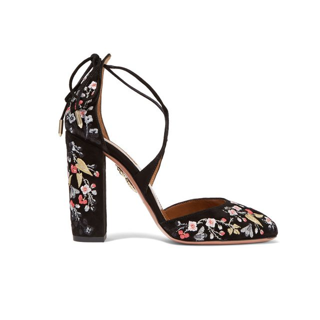 Aquazurra Karlie Embroidered Suede Pumps
