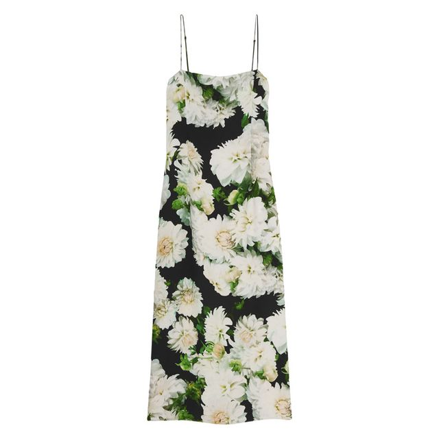 Adam Lippes Floral Print Crepe Slip Dress