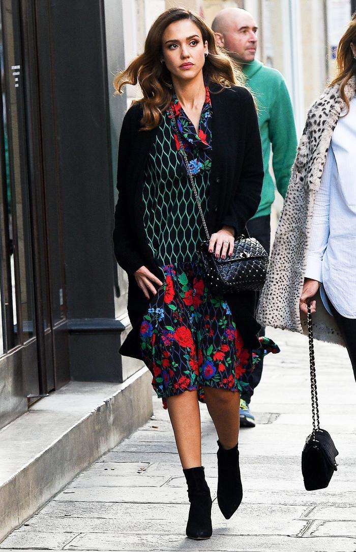 Jessica Alba Kenzo x H&M Dress Paris 2016