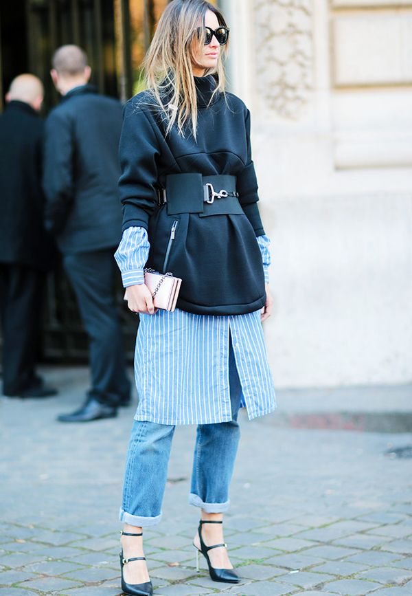 Style Notes: Belts don't have to go around a jacket or shirt. Try it on an oversize sweater.