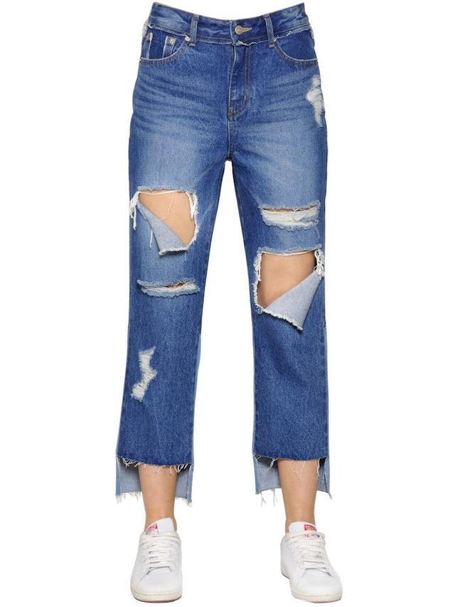 Steve J & Yoni Patchwork Destroyed Cotton Denim Jeans