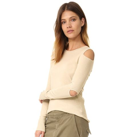 Cold Shoulder Cutout Crew Neck Sweater