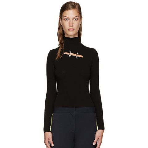 Black Cut-Out Turtleneck