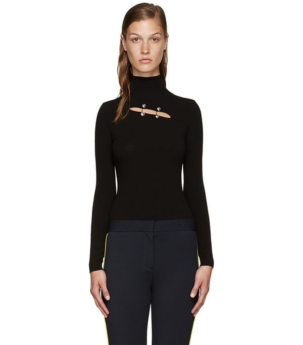 Versus Black Cut-Out Turtleneck