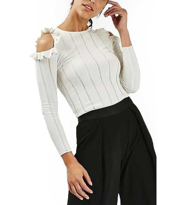 Topshop Ruffle Cold Shoulder Sweater