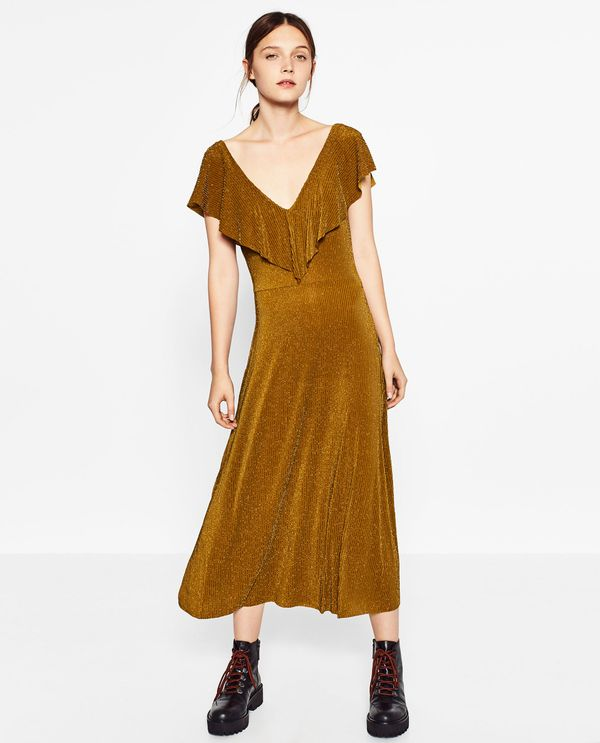 Zara Frilled Shiny Dress