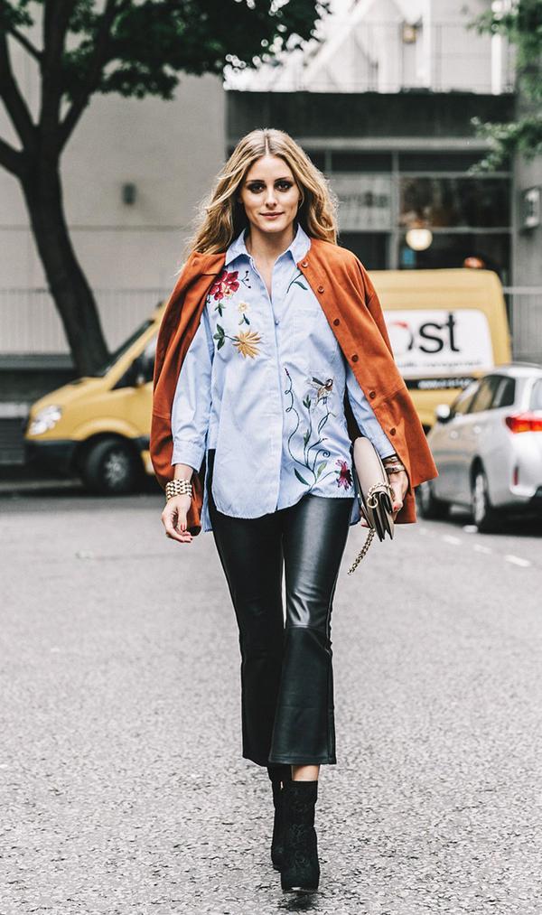 olivia palermo zara embroidered shirt street style