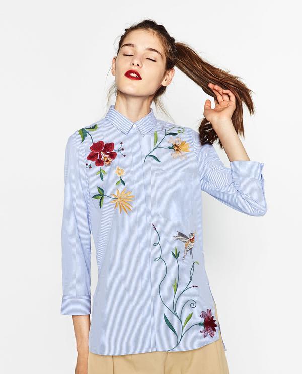 Zara Embroidered Poplin Shirt