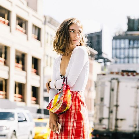 Mixing plaids is the perfect way to make white counterparts more interesting.