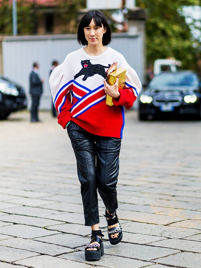 "Eva Chen has nicknamed the statement piece her ""epic Gucci cheerleading sweater."""