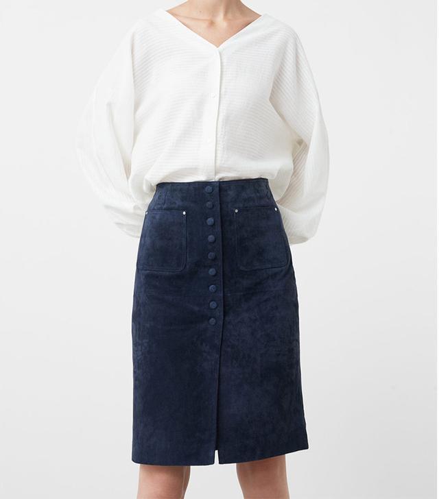 Mango Midi Suede Skirt