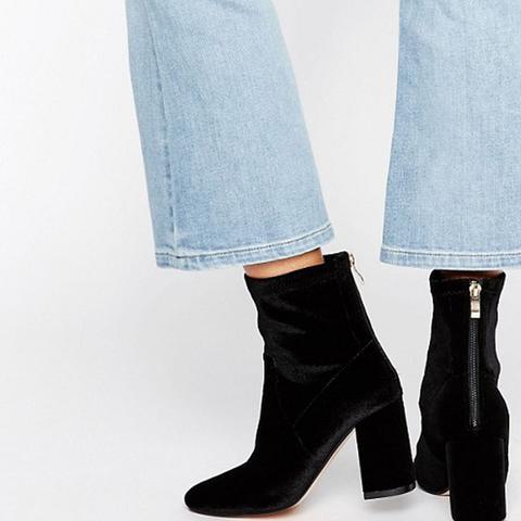 Unlined Velvet High Ankle Boot