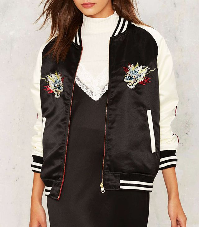 Nasty Gal Dragon Side Out Bomber Jacket