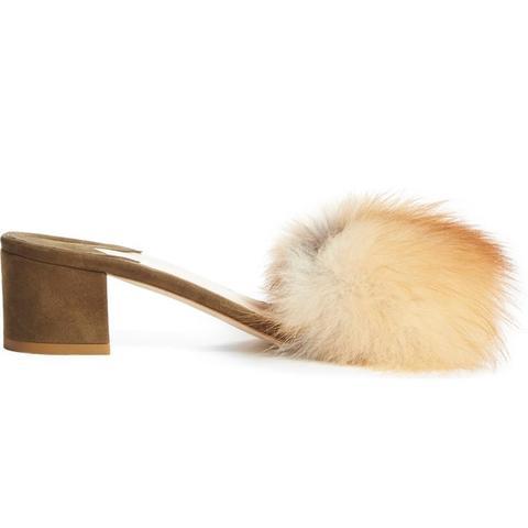 'Tufted' Genuine Fox Fur Slide Sandal