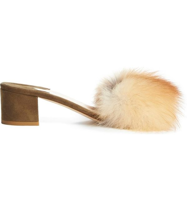 Brother Vellies 'Tufted' Genuine Fox Fur Slide Sandal