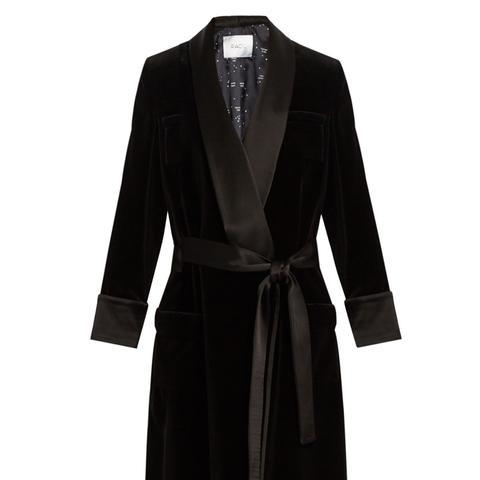 Andromeda Satin-Lapel Velvet Coat