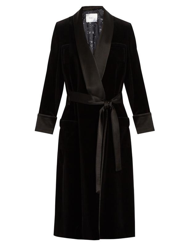 Racil Andromeda Satin-Lapel Velvet Coat