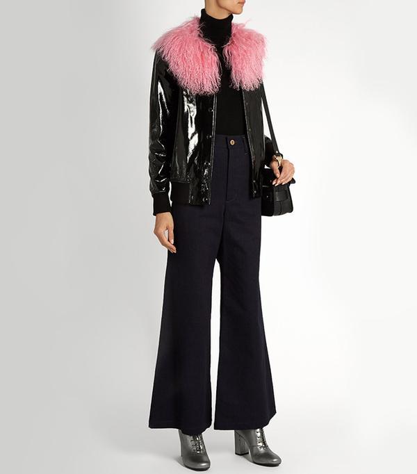 Charlotte Simone Va-Va Varsity Patent-Leather Jacket