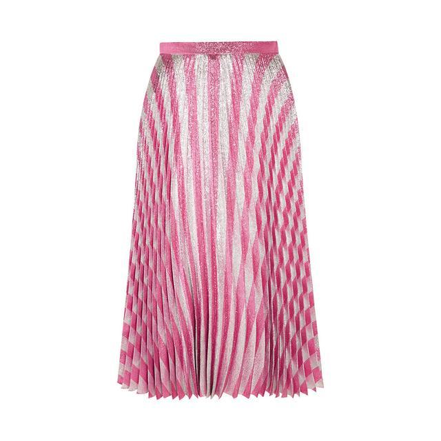 Gucci Pleated Metallic Striped Stretch Silk Midi Skirt