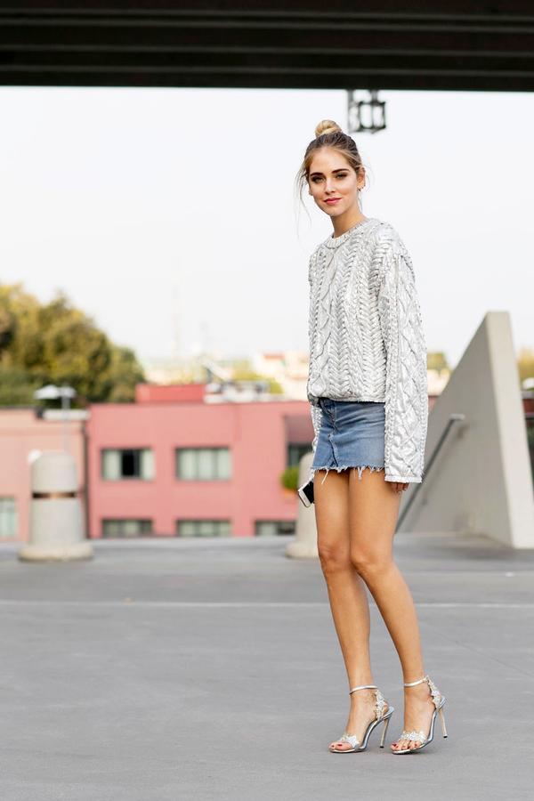 Metallic Jumper + Denim Skirt