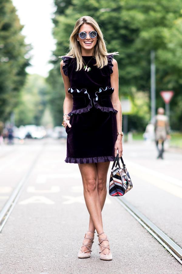 Velvet Mini + Cream Heels