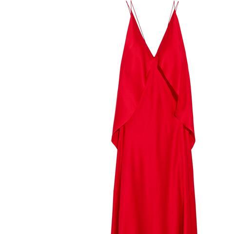 Spider Open-Back Silk-Satin Dress