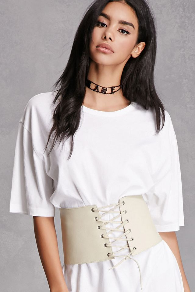 Forever 21 Lambskin Lace-Up Corset