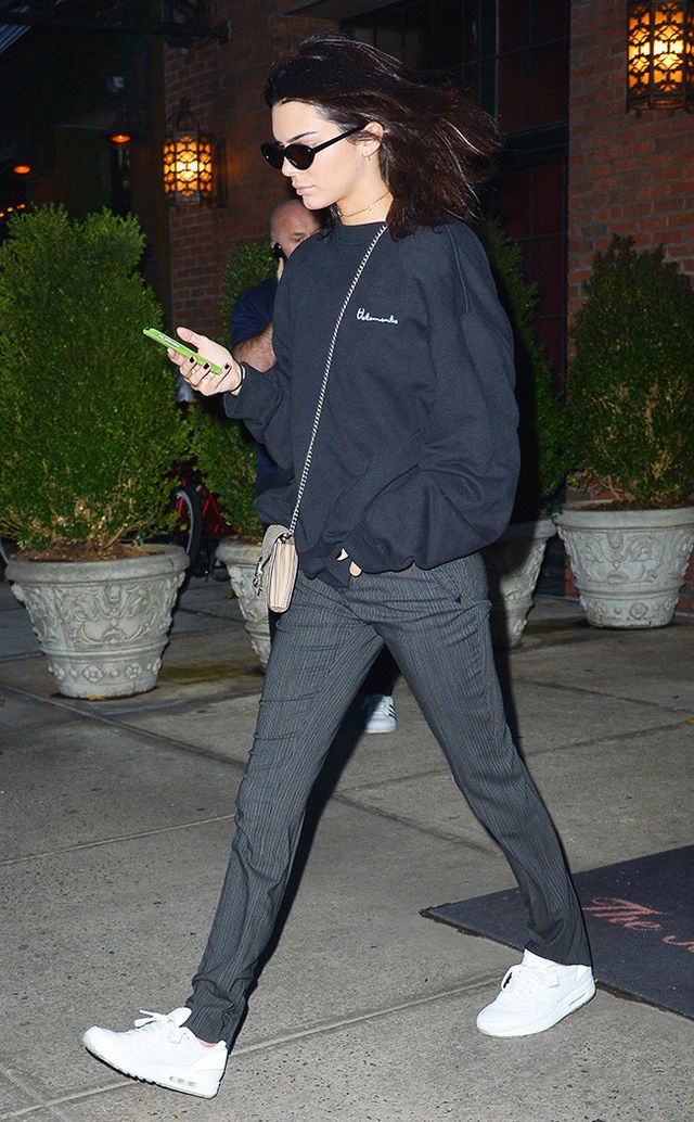 Kendall Jenner wearing dad sneakers.