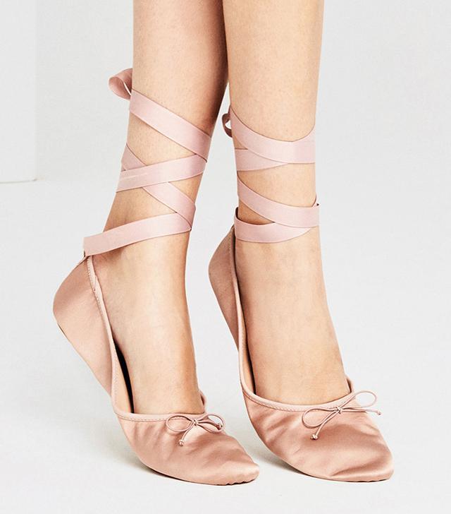 Zara Sateen Ballet Flats